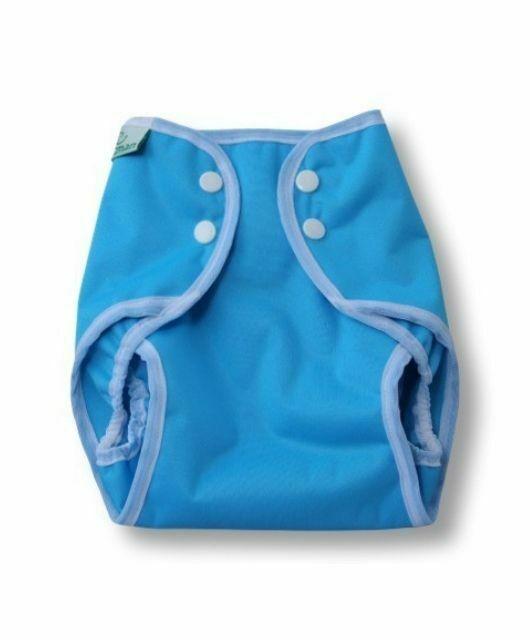 Prekrivne hlačke s pritiskači – modra