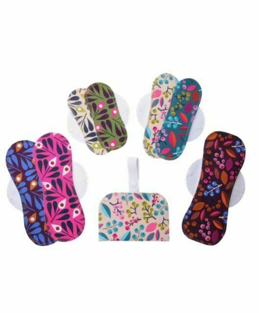 Komplet 7 pralnih vložkov za menstruacijo eko bombaž Pisani (S, M, L in XL) s torbico