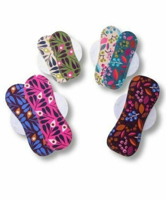 Komplet 7 pralnih vložkov za menstruacijo eko bombaž Pisani (S, M, L in XL)